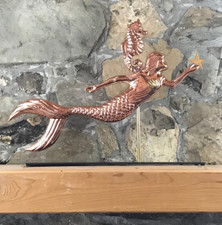 Copper Mermaid with Mantle Base