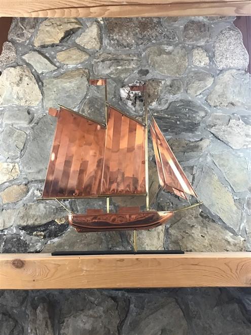 Copper Schooner with Mantle Base