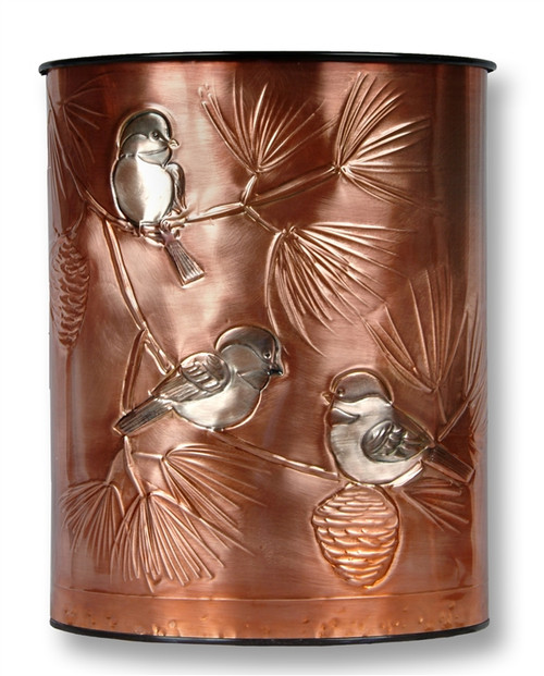 Chickadees Copper Waste Basket