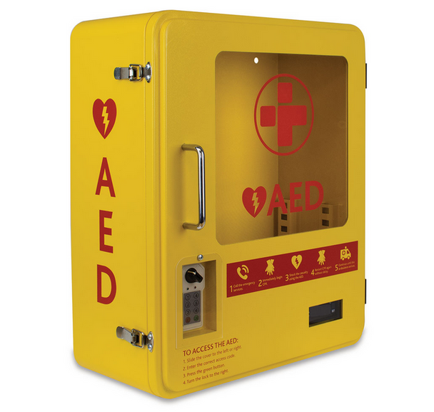 Heated Outdoor Metal AED Wall Cabinet (2105) angled