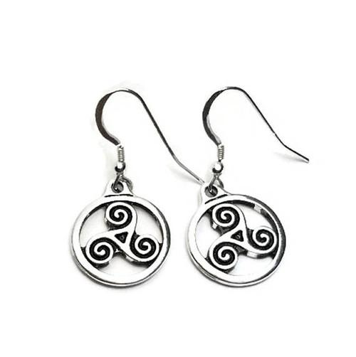 Celtic Triskele Spirals Dangle Earrings
