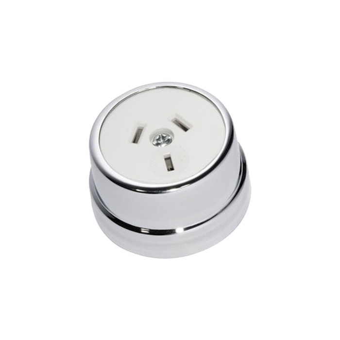 Heritage Clipsal Round Power Point Socket - White Socket with Chrome Cover