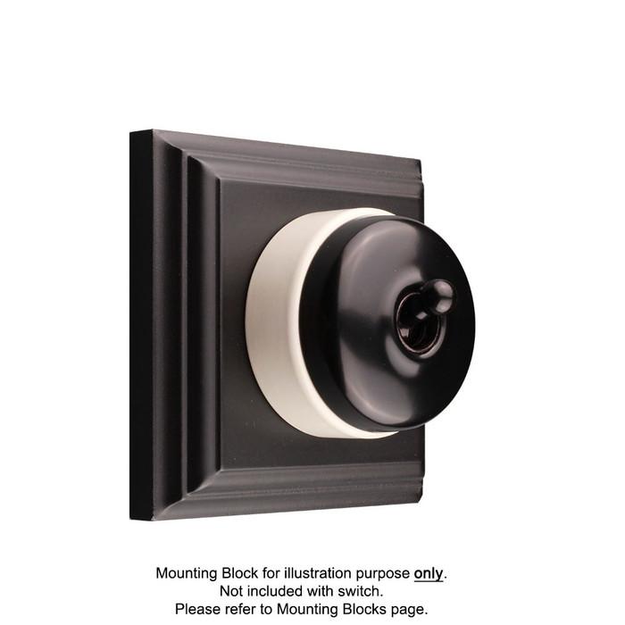Black on White Porcelain Base Vintage Light Switch