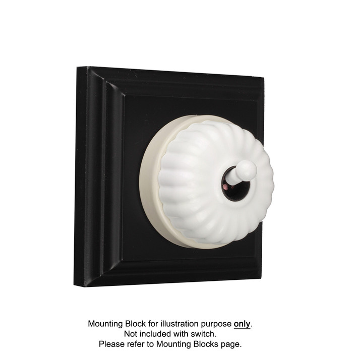 White on White Porcelain Base Heritage Fluted Light Switches