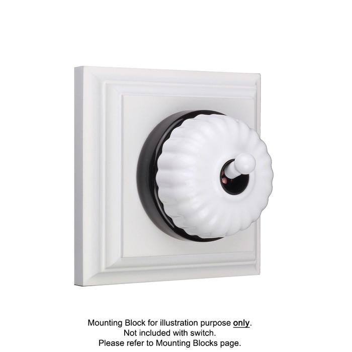 White on Black Porcelain Base Heritage Fluted Light Switches