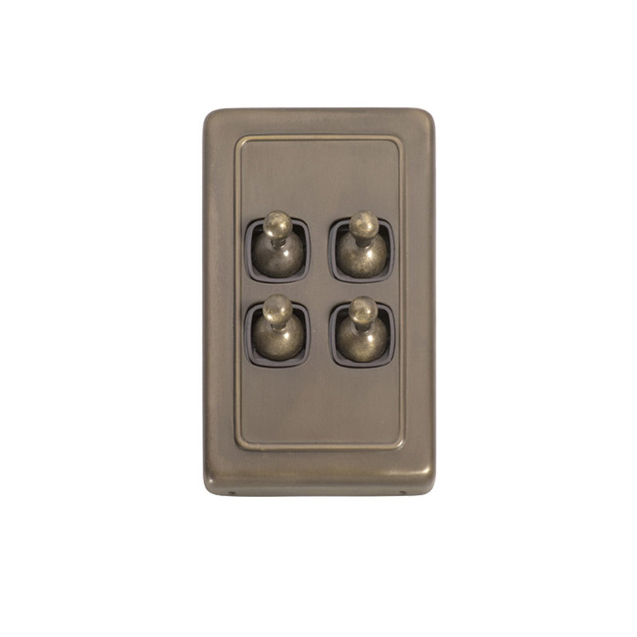 4 Gang Flat Plate Heritage Light Switches - Antique Brass Toggle
