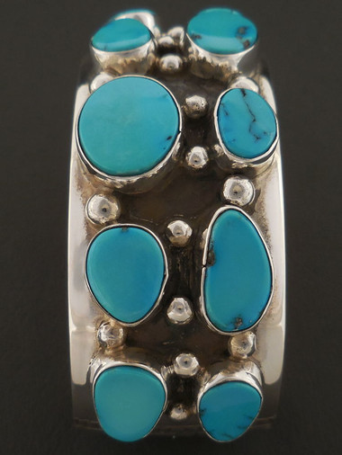 Lone Mountain Turquoise Cluster Bracelet Navajo Handmade by Sam Gray