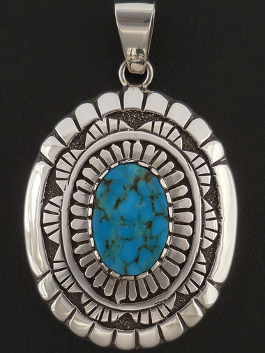 Blue Diamond Turquoise Pendant Native American Handmade by Sam Gray