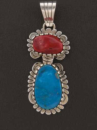 Native American Handmade Blue Gem Turquoise and Mediterranean Coral Pendant by Sam Gray