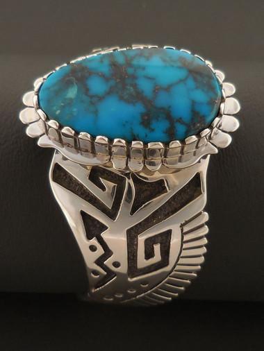 Custom Navajo Handmade Blue Diamond Turquoise Bracelet by Sam Gray