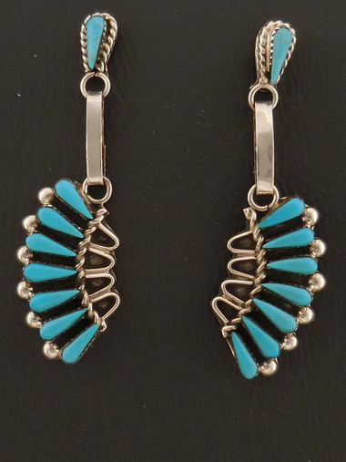 Turquoise Petit Point Dangle Earrings Native American Handmade Sterling Silver