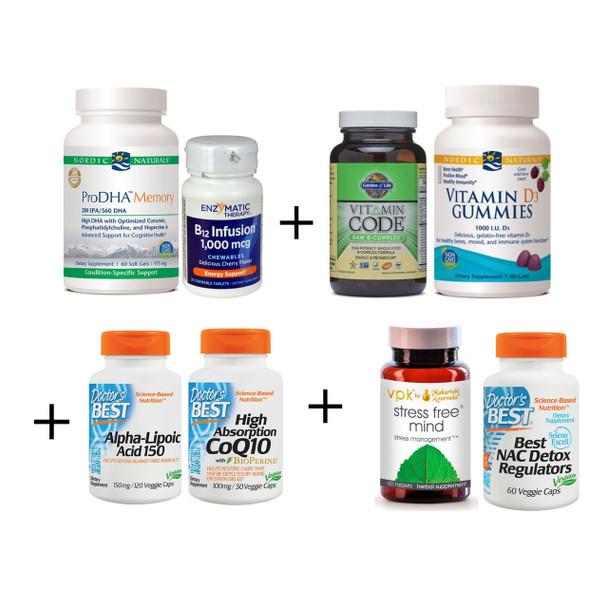 Premium Brain Kit - Best Supplements for Brain Health, Memory, Concentration, Prevent Alzheimer's