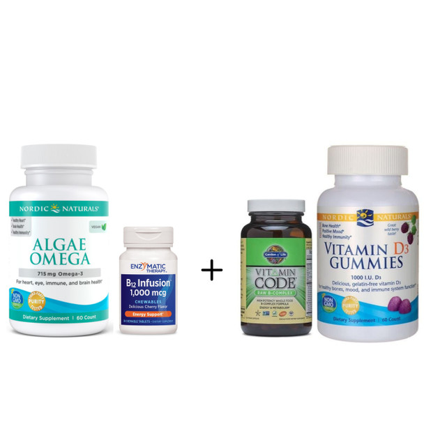 Veg Basic Brain Kit - Vitamins to  Improve Brain Function, Omega-3s, No Fish Oil
