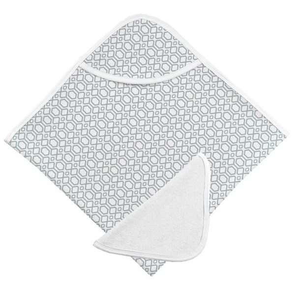 Kushies Hooded Towel & Terry Wash Cloth - Grey Octagon