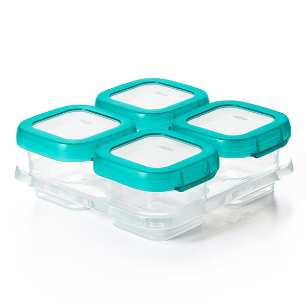 OXO Plastic Baby Blocks Freezer Storage Containers (4 OZ)   Teal
