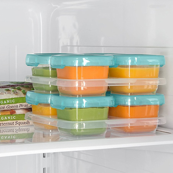 ... OXO Tot Plastic Baby Blocks Freezer Storage Containers (4 OZ)   Aqua 4
