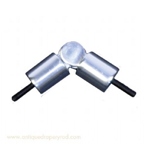 """7/8"""" Hinged Corner Rod Polished Aluminum 1"""" Scale"""