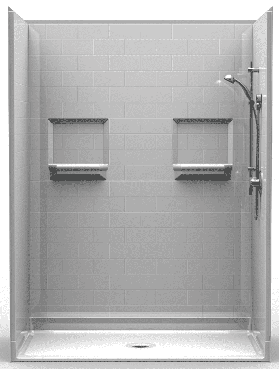 60 X 34 Shower Stall has Curbless Threshold | USA Made