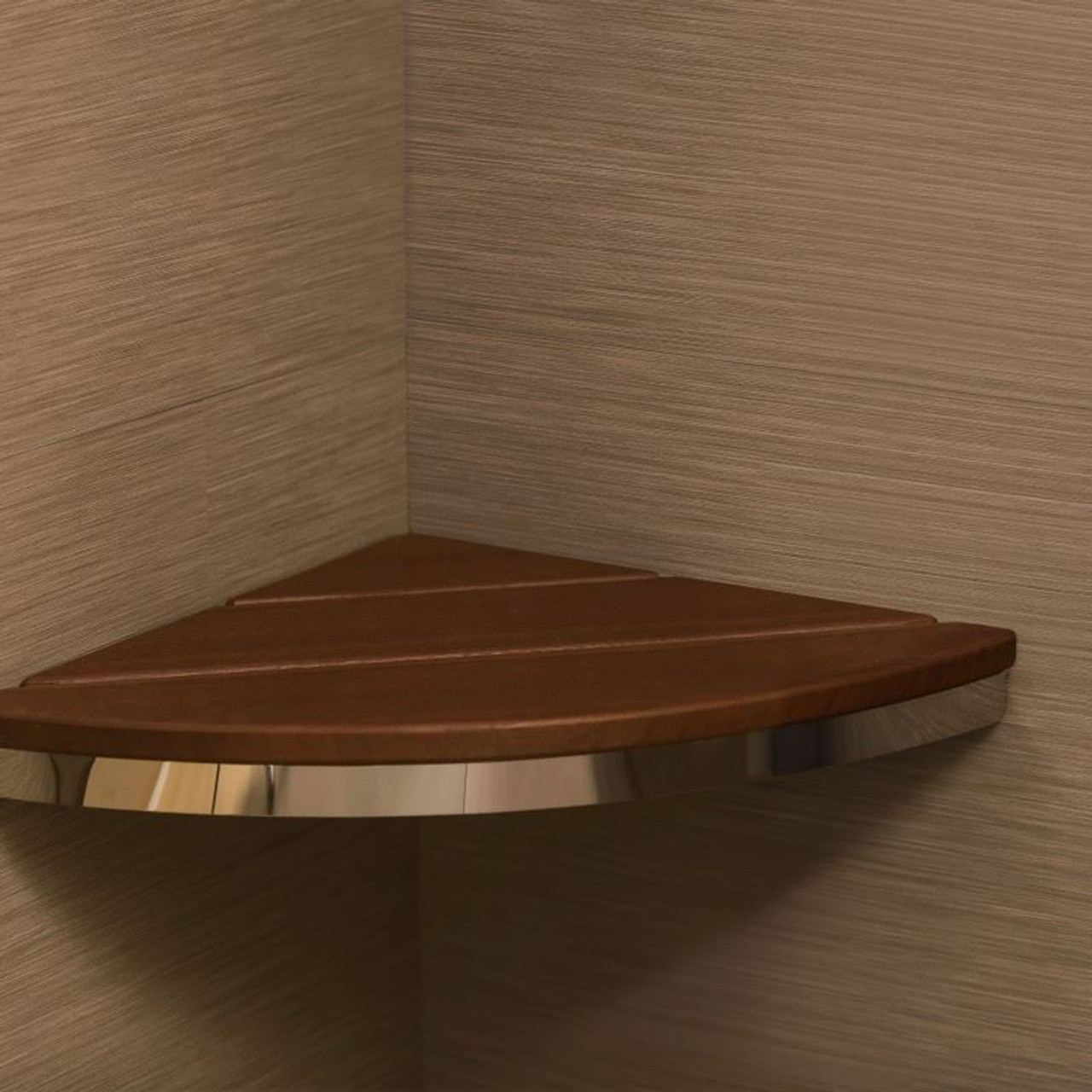 Corner Shower Seat   Brazilian Walnut   500 Wt Cap