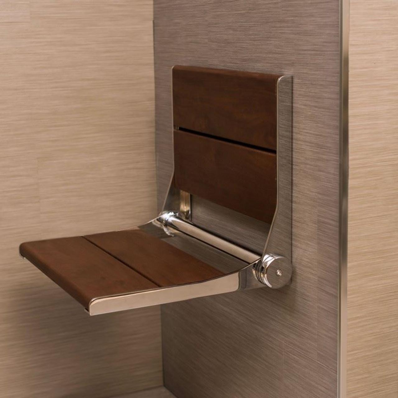 Stylish Shower Seat | Brazilian Walnut | Wall Mount & Folding