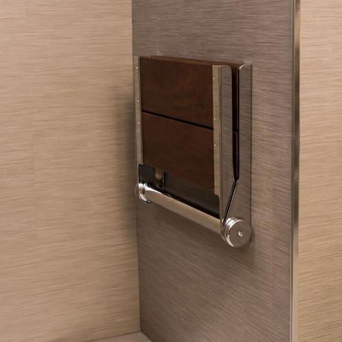 Stylish Shower Seat   Brazilian Walnut   Wall Mount & Folding