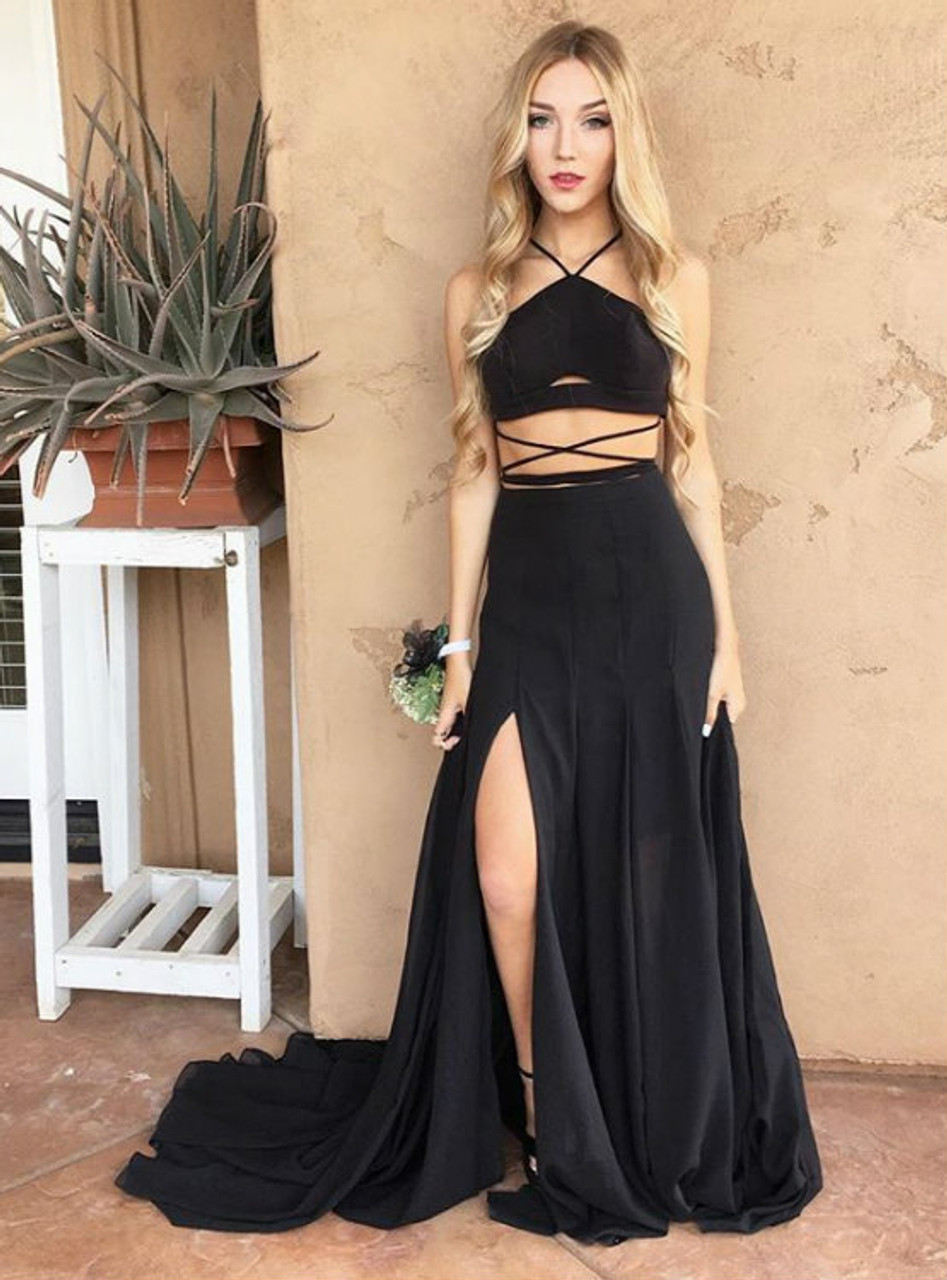 Black Halter Two Piece Side Slit Formal Gown Prom Dress With ...