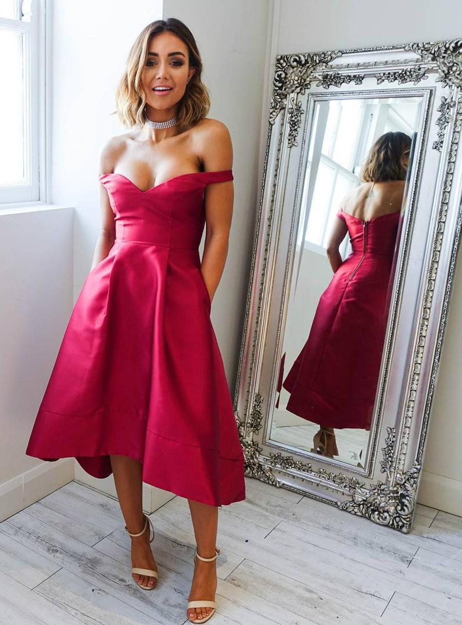High Low Short Prom Dress with Pockets Off-Shoulder Satin Graduation ...