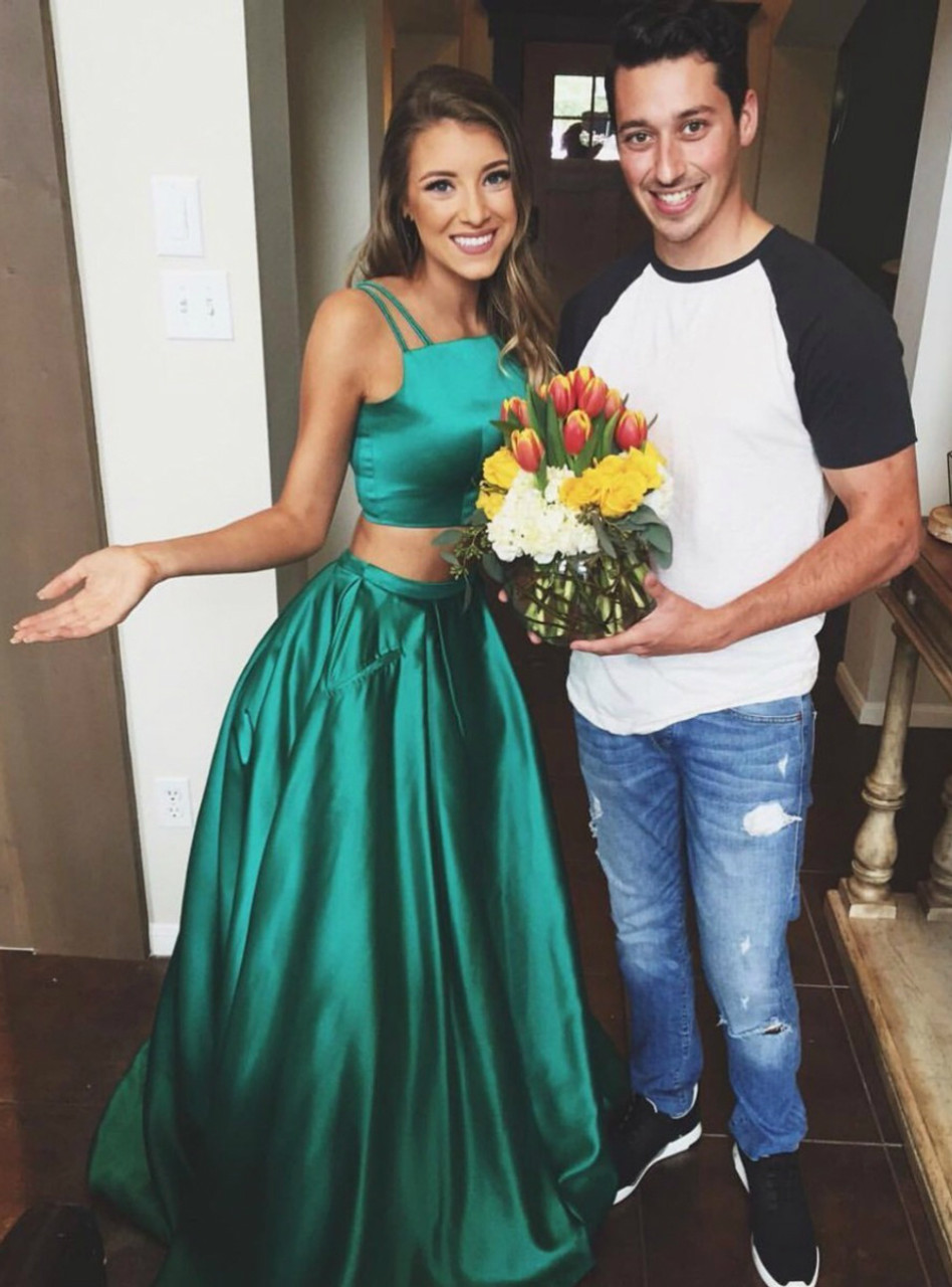 Sparkling 2 Pieces Square Neck Long Green Satin A line Prom Party ...