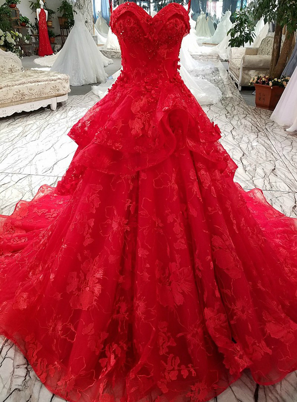 Red Wedding Gown: Princess Lace Flowers Luxury Generous Spaghetti Strap Red