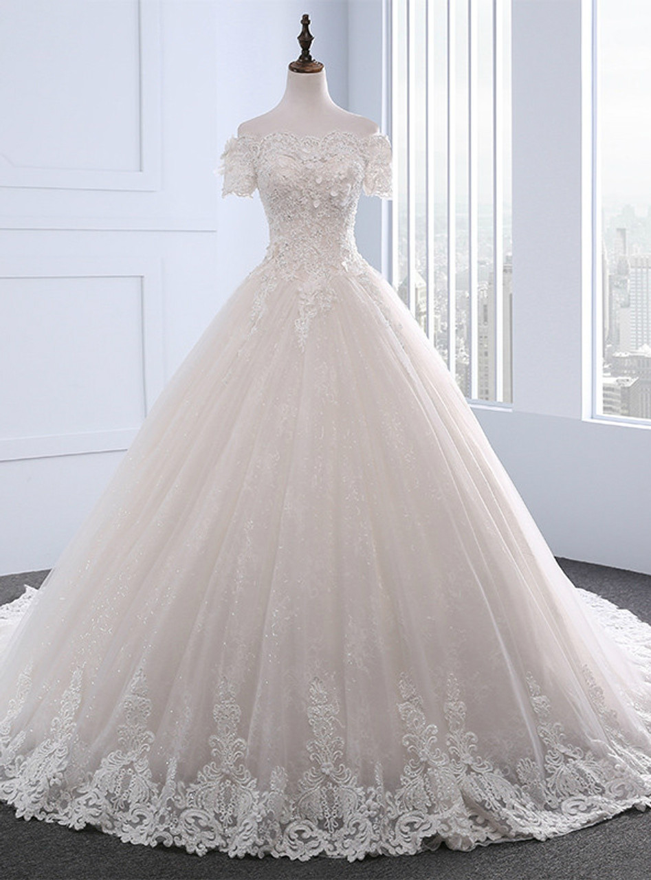 Adorable Vintage Wedding Dresses Short Sleeve With Beading Boat Neck ...
