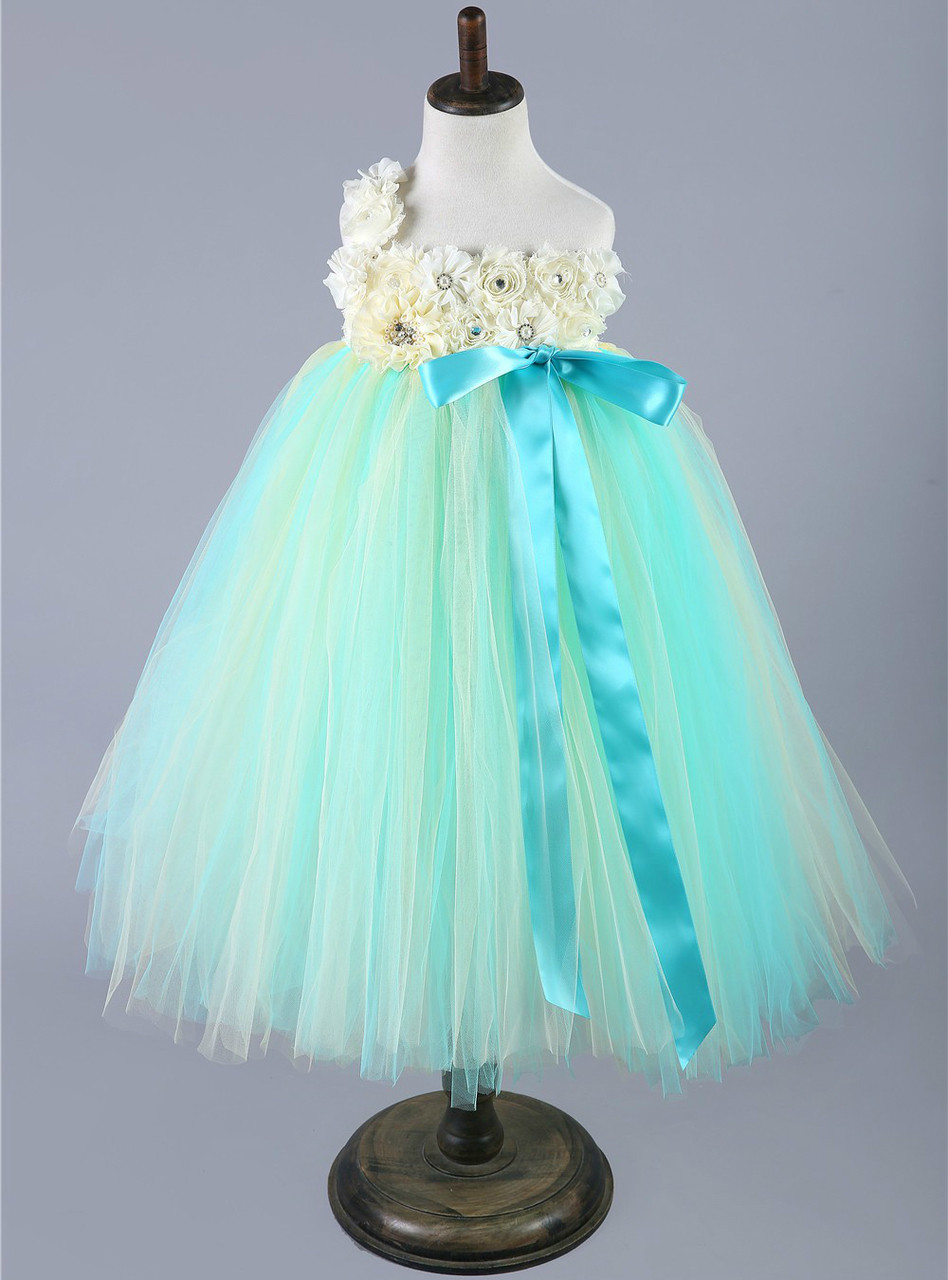 Green Baby Girls Tulle Dress Children Pageant Party Wedding Birthday