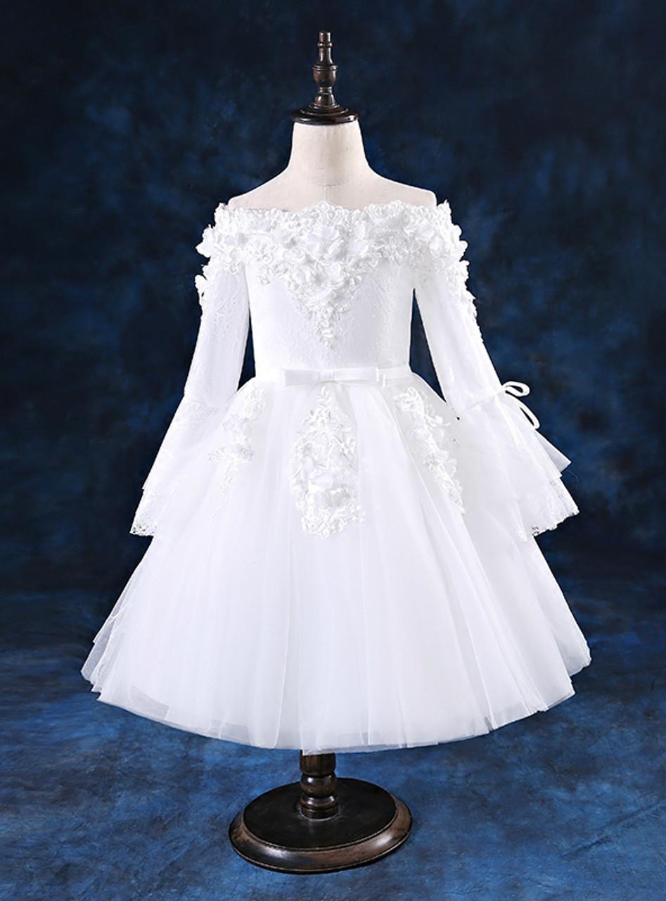 White Off The Shoulder Tulle Long Sleeve Appliques Flower Girl Dress ...