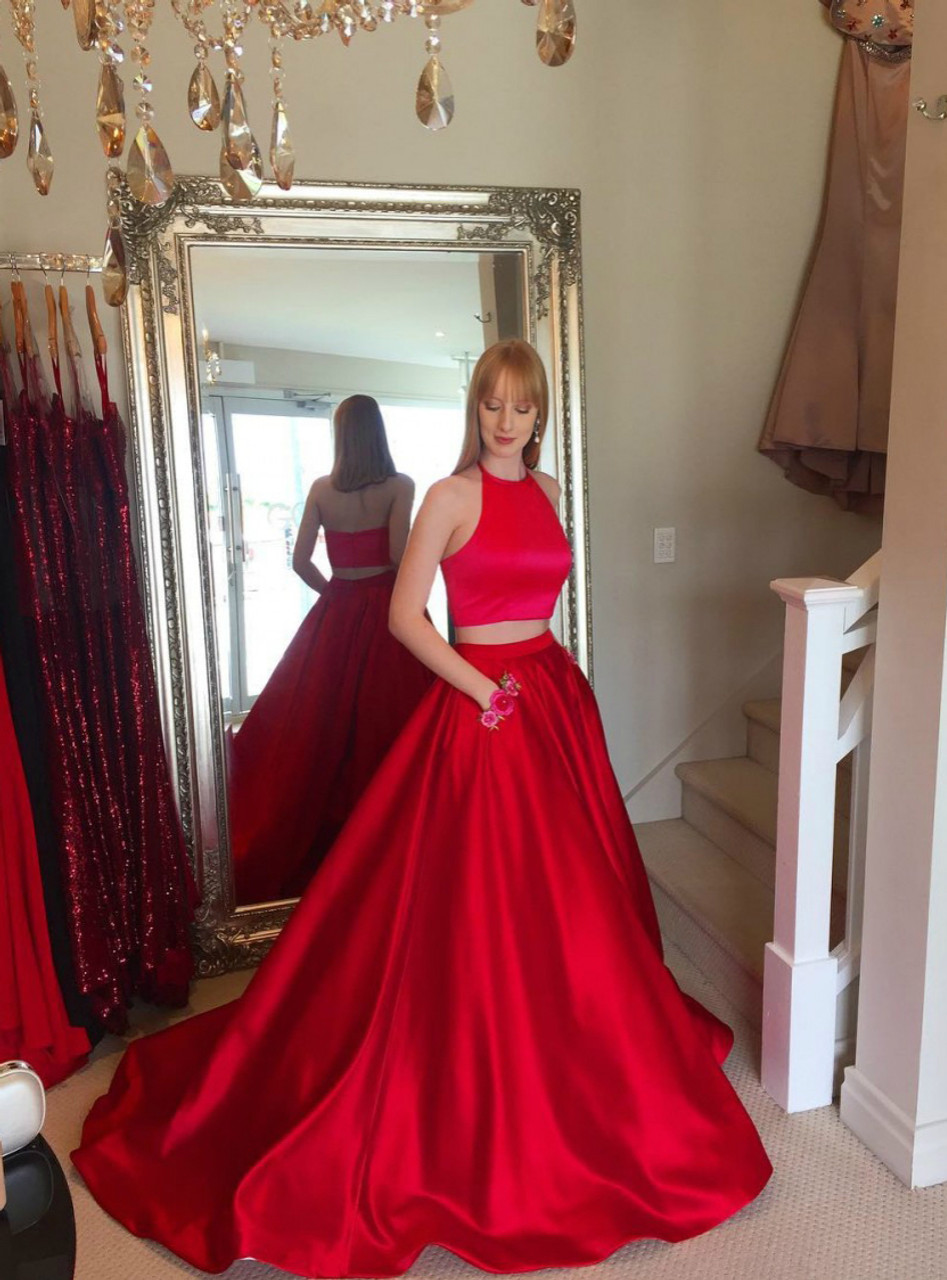 Two Piece Red Satin Halter Long Prom Dress
