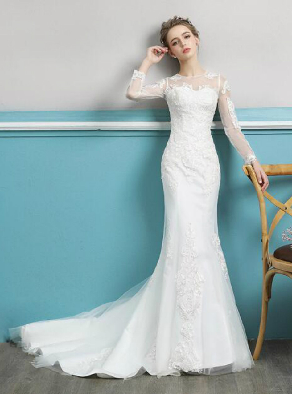 In Stock:Ship in 48 hours Mermaid Long Sleeve lace Wedding Dress