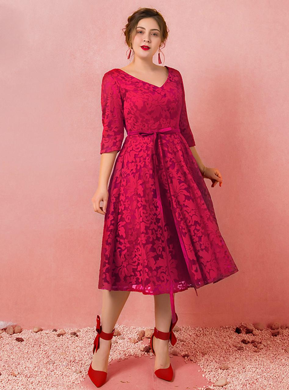 Lace dress plus size burgundy