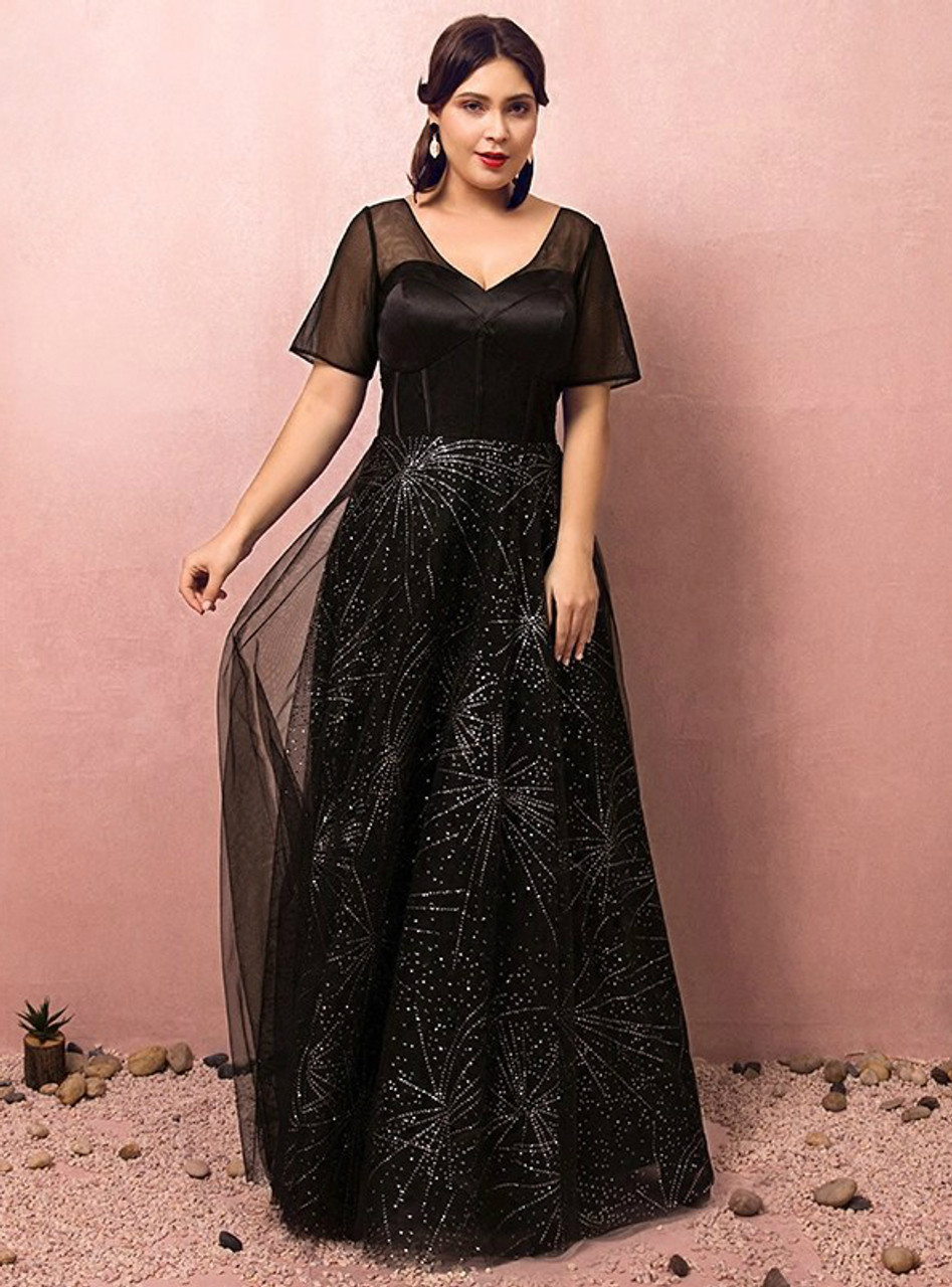 Plus Size Black Short Sleeve V-neck Prom Dress