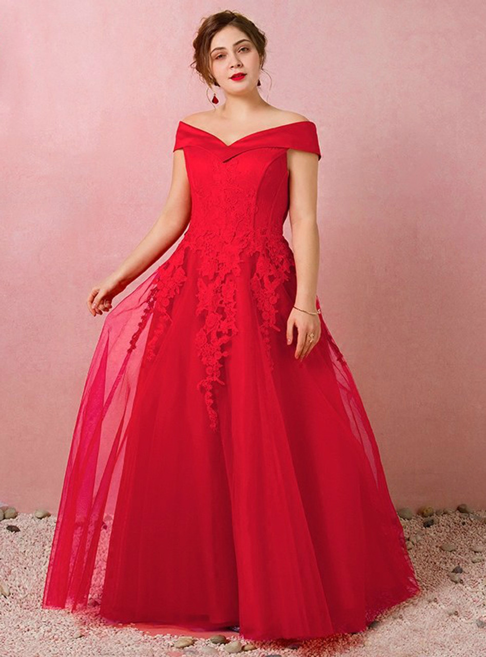 Size Red Tulle Off The Shoulder Prom Dress