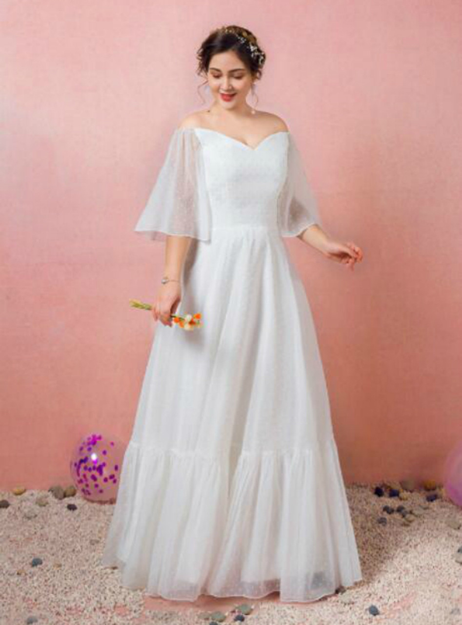 Plus Size White Lace Off the Shoulder Prom Dress