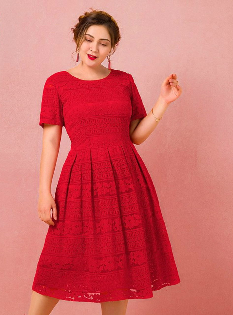 Plus Size Tea Length Red Lace Short Sleeve Prom Dress
