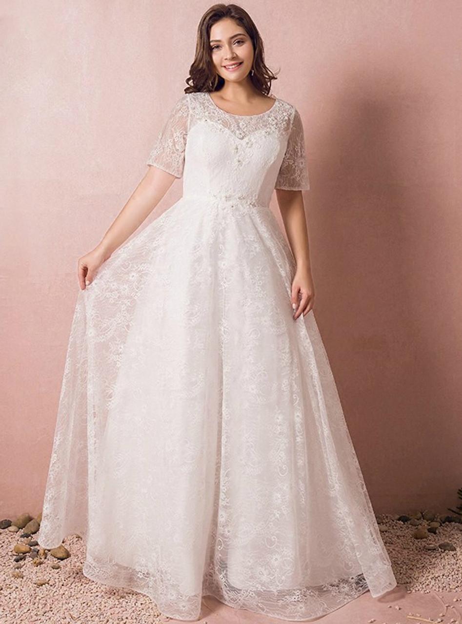 Size short sleeve white lace wedding dress plus size short sleeve white lace wedding dress junglespirit Images