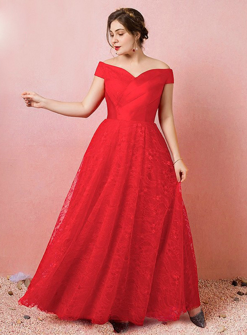Plus Size Red Off The Shoulder Tulle Lace Prom Dress