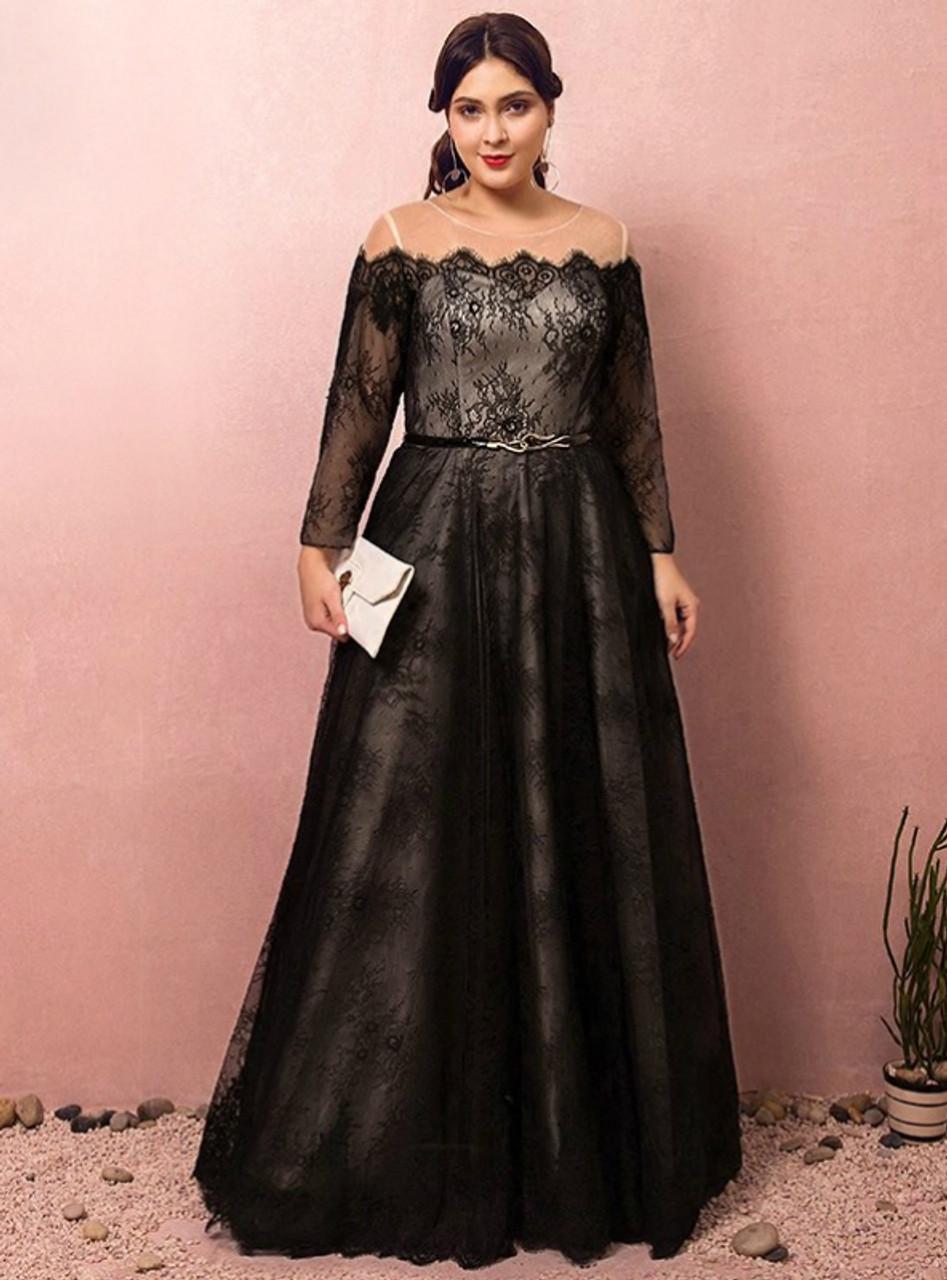 Long sleeve black lace dress plus size