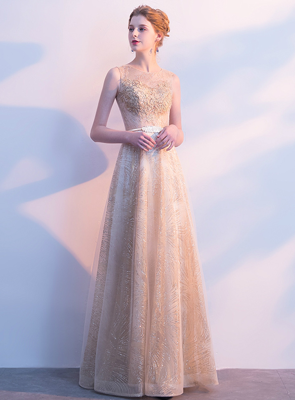 Stock:Ship in 48 hours Gold Tulle Bling Bling With Sash Prom Dress