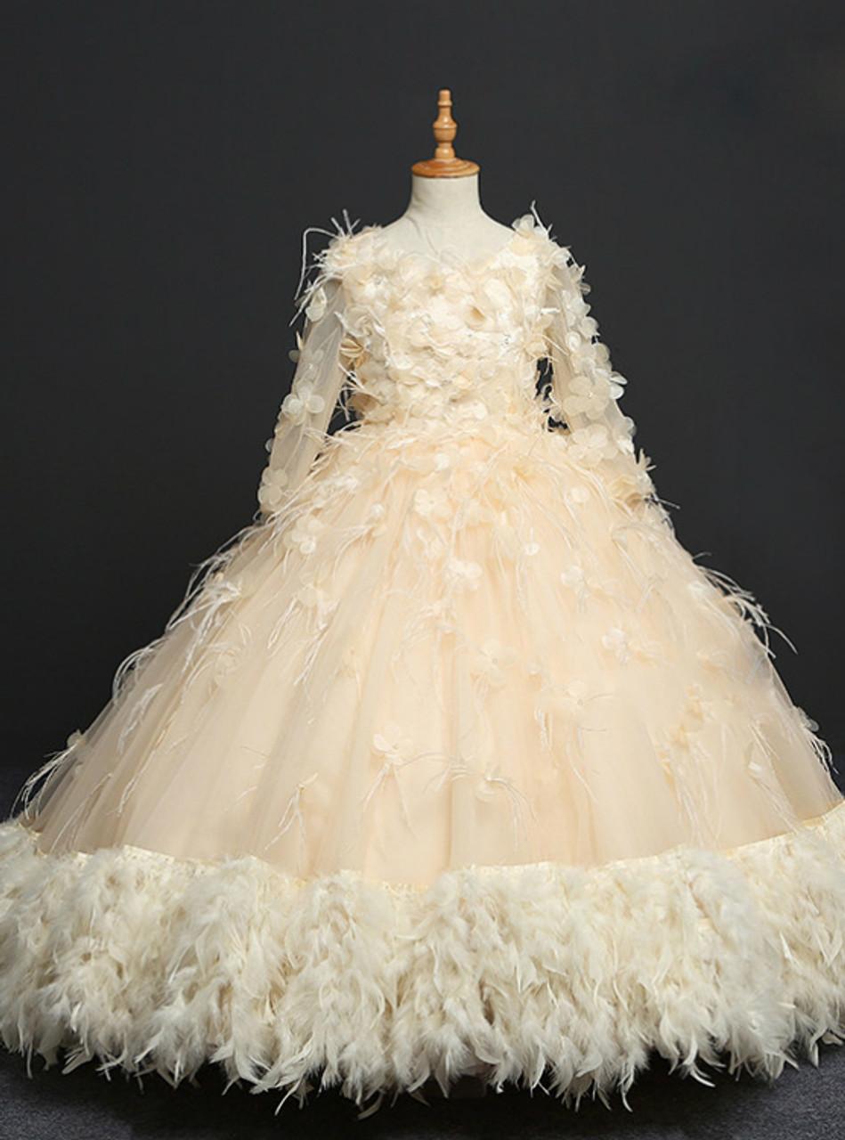 Yellow Ball Gown Long Sleeve Tulle Flower Girl Dress