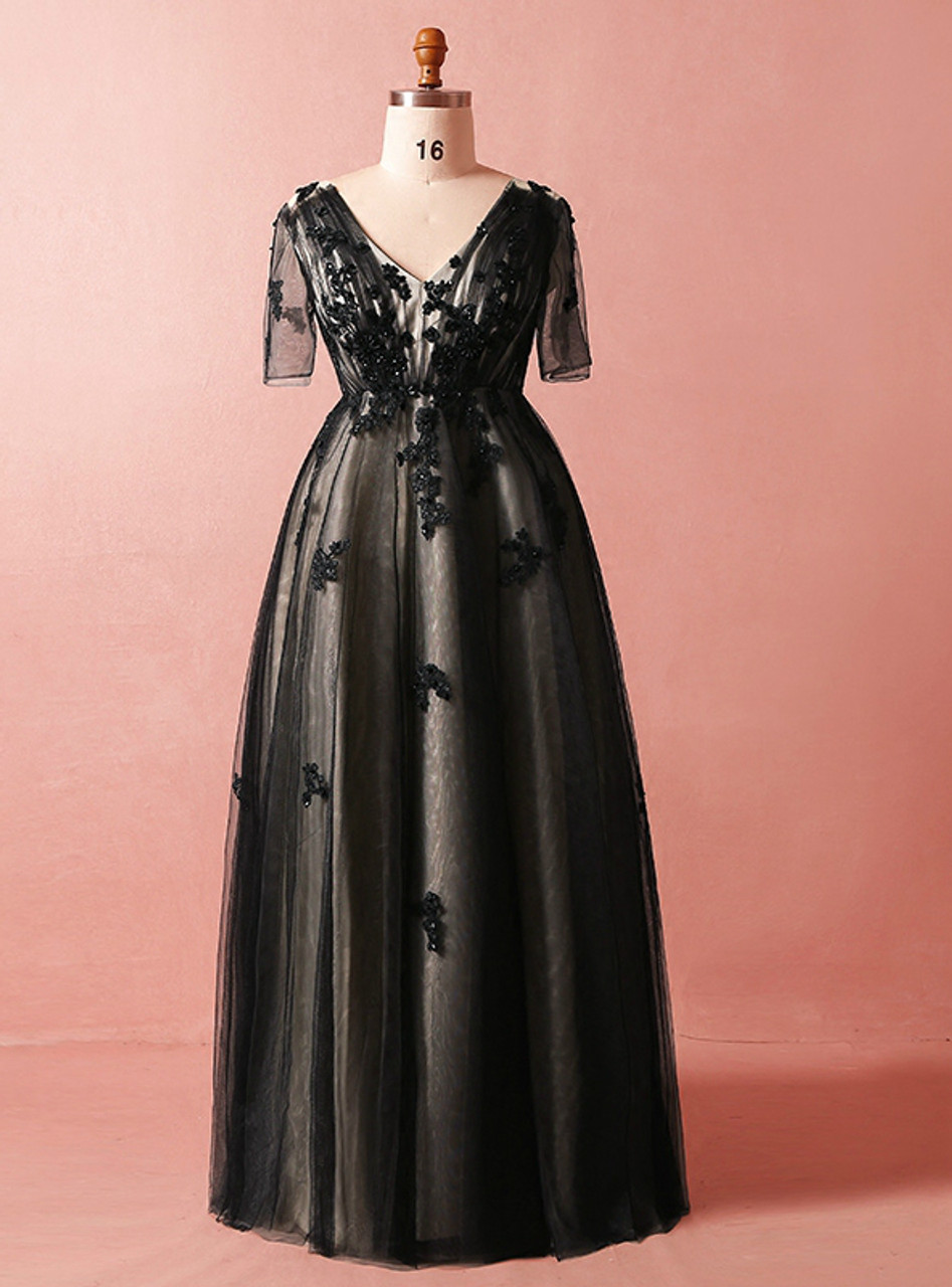 Plus Size Black Tulle Short Sleeve Empire Waist V-neck Prom Dress