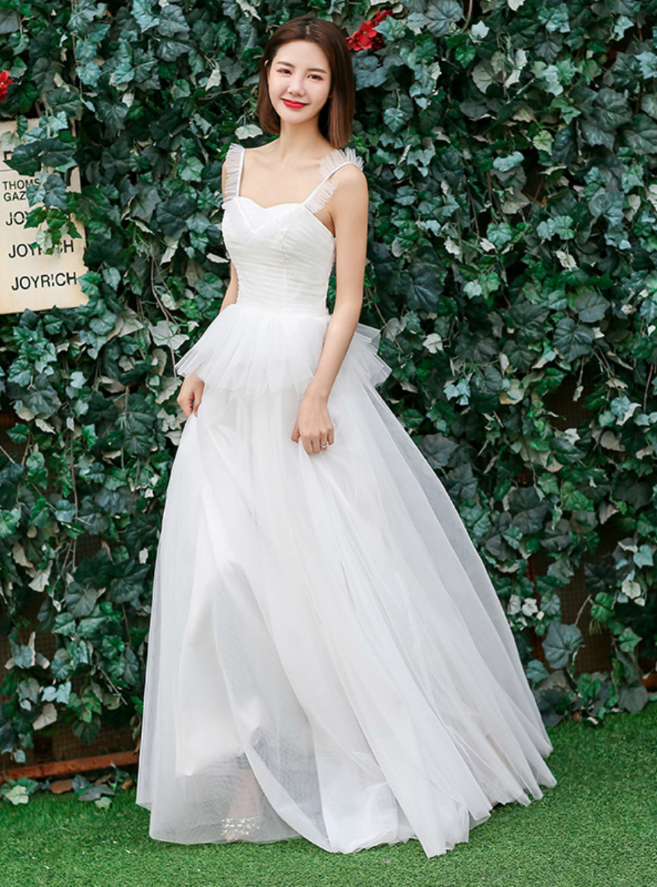 In Stock Ship 48 Hours Quick Deilvery Simple Tulle Straps Wedding Dress