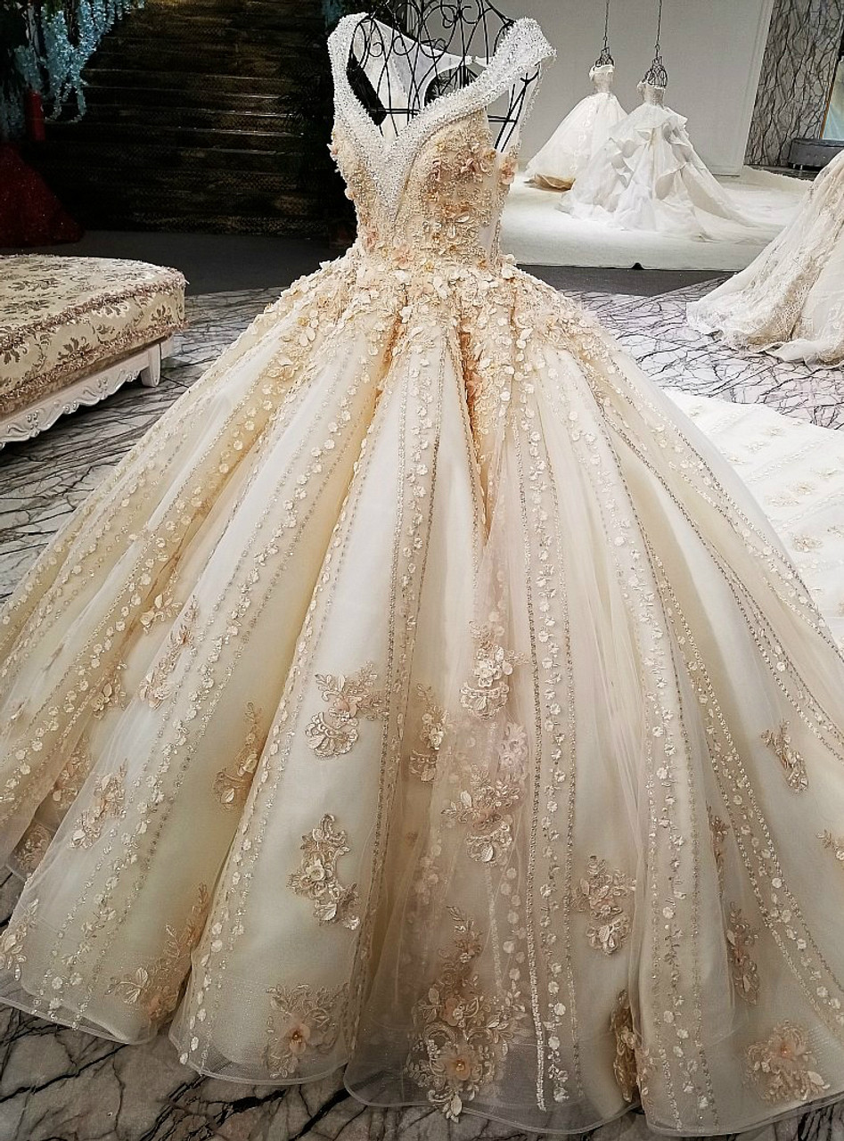 Luxury Ball Gown Champagne Backless Beading Flower Haute Couture ...