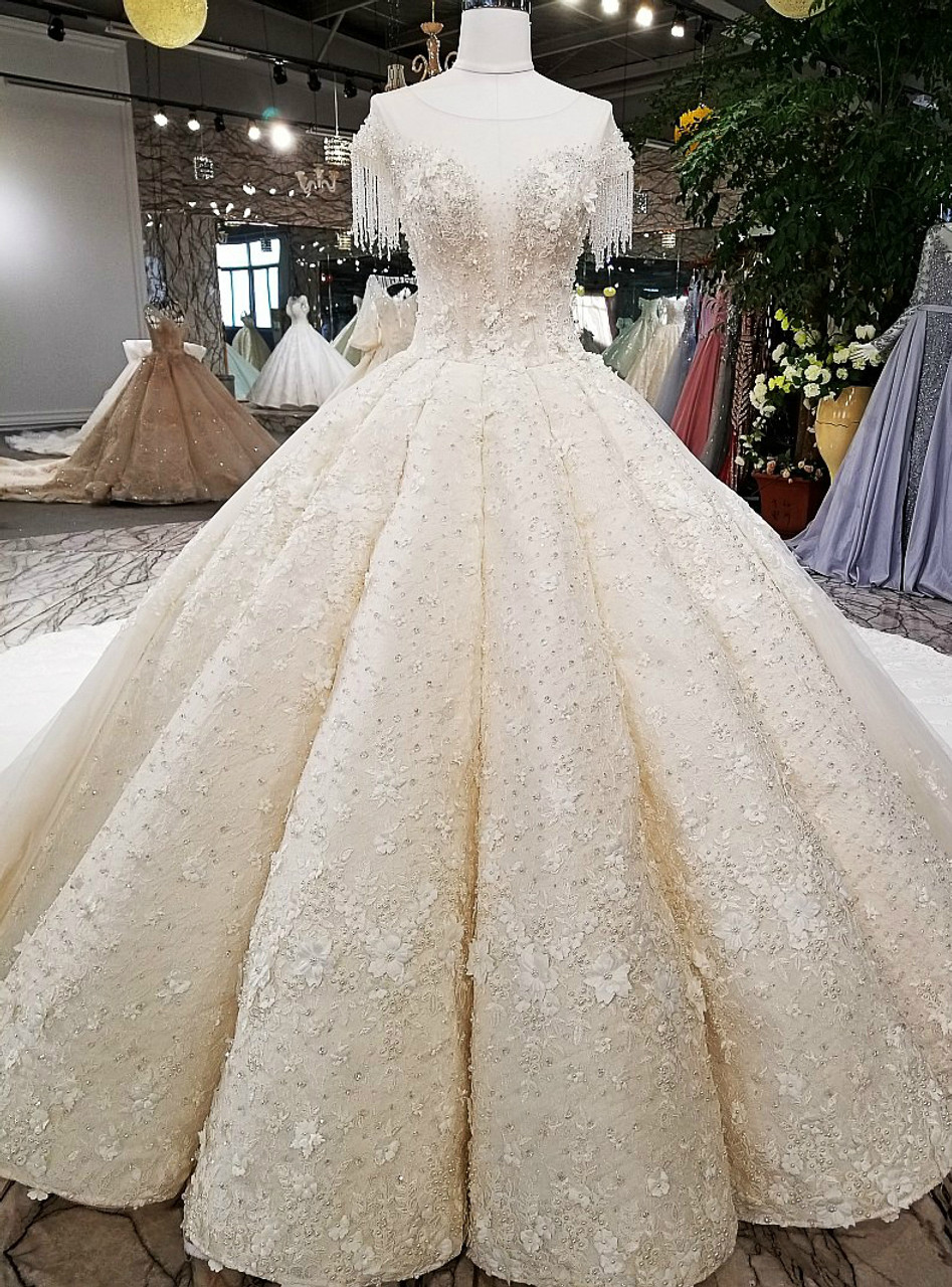 Luxury Ball Gown Cap Sleeve Backless Tulle Beading Haute Couture ...