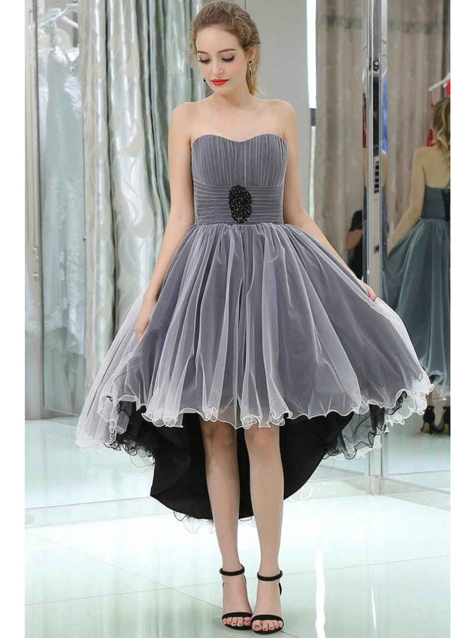 High Low Tulle Black And White Color Prom Dress