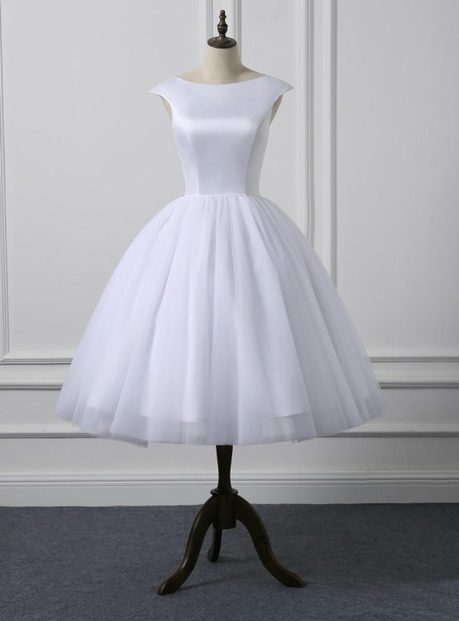 Short Cap Sleeves Knee Length Scoop Neckline Simple Ball Gown ...